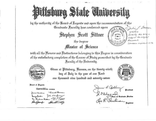 8.0  SITTNER EDUCATION DEGREE CERTIFICATES