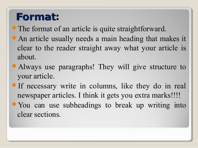 Newspaper Article Examples For Students