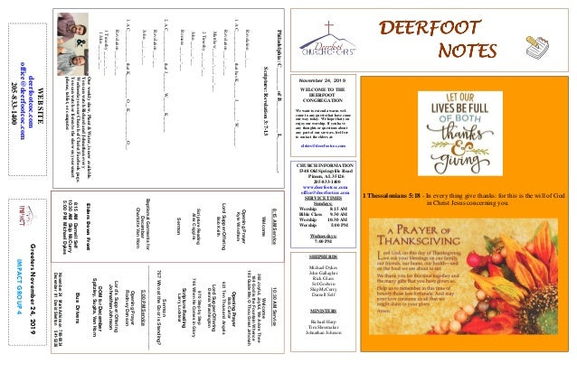 DEERFOOTDEERFOOTDEERFOOTDEERFOOT NOTESNOTESNOTESNOTES November 24, 2019 GreetersNovember24,2019 IMPACTGROUP4 WELCOME TO TH...