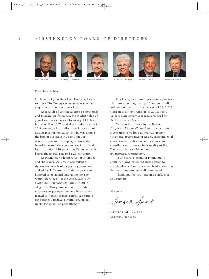 FIRSTENERGY BOARD OF DIRECTORS 8         Paul T. Addison      Anthony J. Alexander   Michael J. Anderson     Dr. Carol A. ...