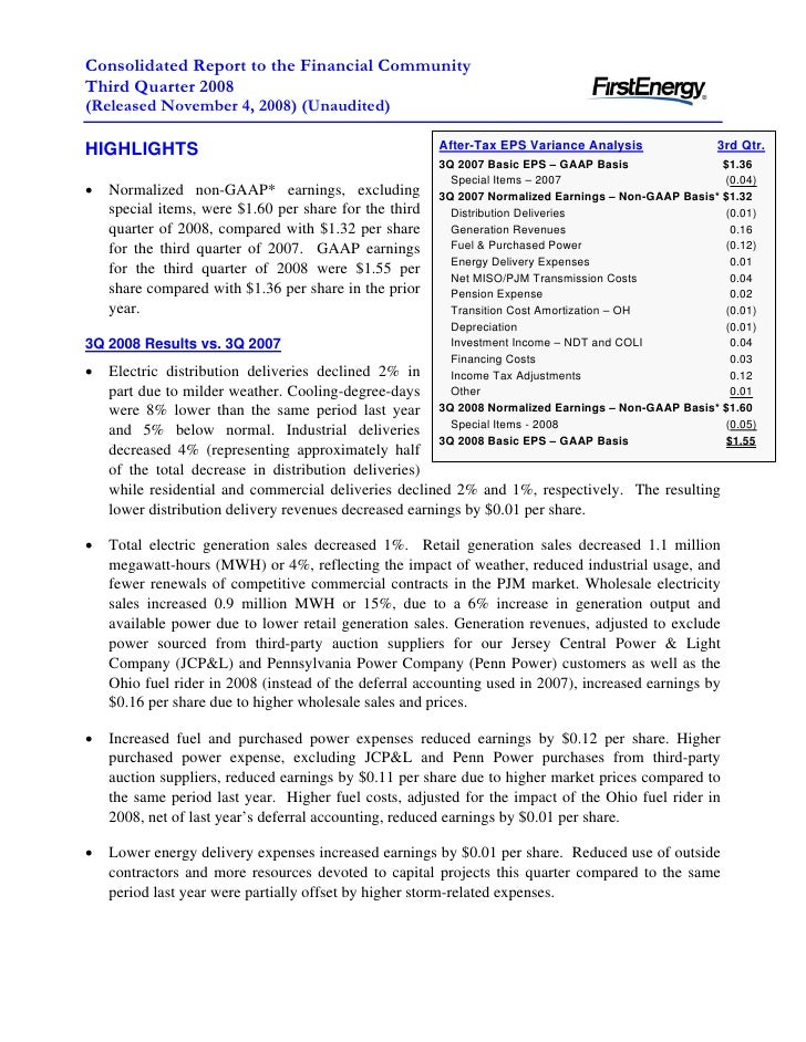 Consolidated Report to the Financial Community Third Quarter 2008 (Released November 4, 2008) (Unaudited)                 ...