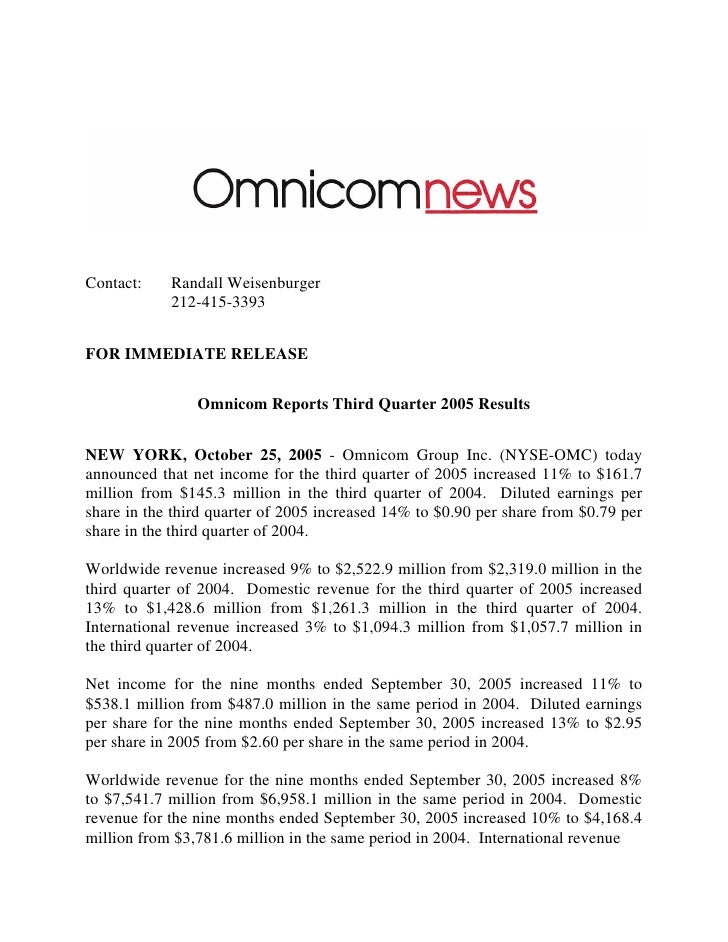 Contact:    Randall Weisenburger             212-415-3393   FOR IMMEDIATE RELEASE                   Omnicom Reports Third ...