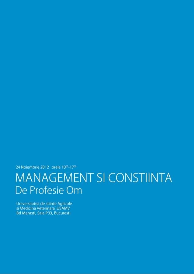 Management si constiinta, Eveniment de o zi cu Jim BAGNOLA si invitatii sai,  USAMV (2012.11.24)