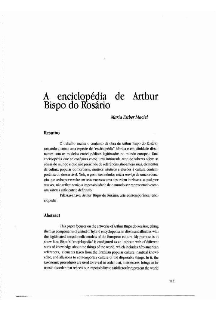 A enciclQpedia de ArthurBispo do Rosario                                                 Maria Esther MacielResumo        ...