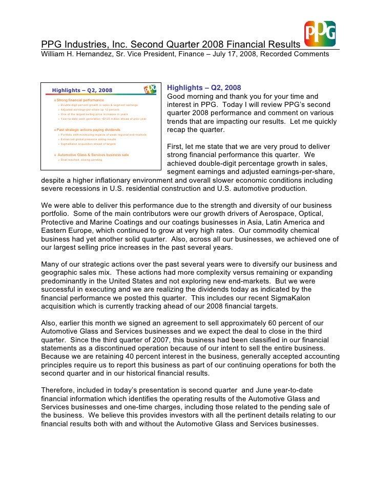 PPG Industries, Inc. Second Quarter 2008 Financial Results William H. Hernandez, Sr. Vice President, Finance – July 17, 20...