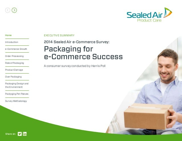 A consumer survey conducted by Harris Poll 2014 Sealed Air e-Commerce Survey: Packaging for e-Commerce Success EXECUTIVE S...