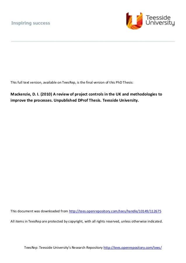 teesside university dissertation template