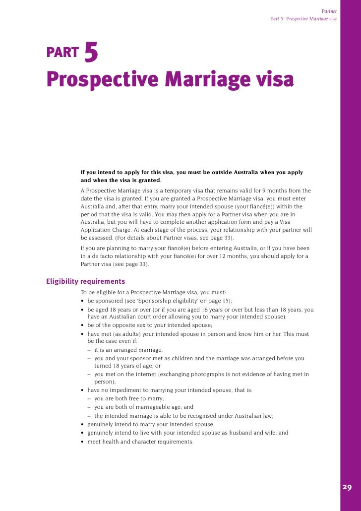 1127 visa partner part 5 prospective marriage visa part 5 prospective marriage visa if you intend to apply for this visa you must be outside australia when you spiritdancerdesigns Image collections