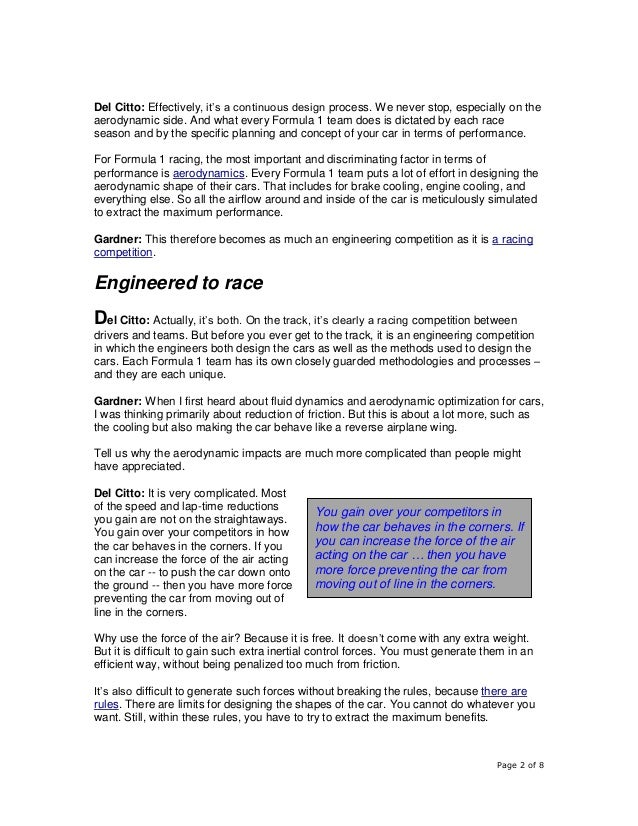 Page 2 of 8 Del Citto: Effectively, it's a continuous design process. We never stop, especially on the aerodynamic side. A...