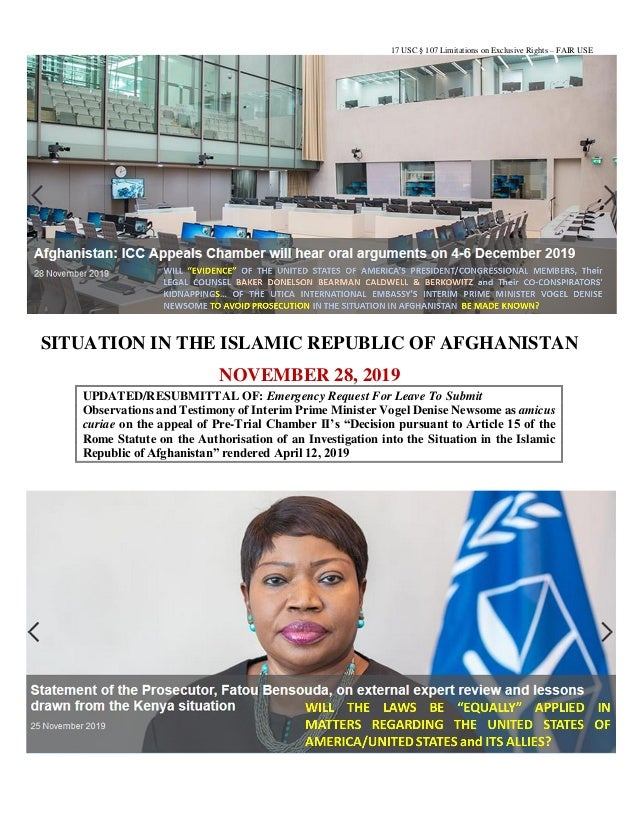17 USC § 107 Limitations on Exclusive Rights – FAIR USE SITUATION IN THE ISLAMIC REPUBLIC OF AFGHANISTAN NOVEMBER 28, 2019...