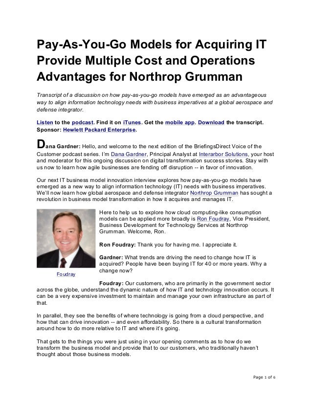 Page 1 of 6	 Pay-As-You-Go Models for Acquiring IT Provide Multiple Cost and Operations Advantages for Northrop Grumman Tr...