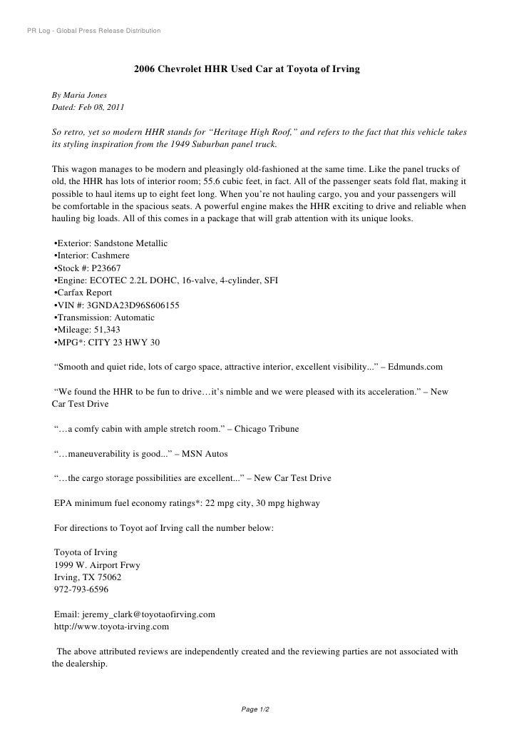 PR Log - Global Press Release Distribution                                 2006 Chevrolet HHR Used Car at Toyota of Irving...