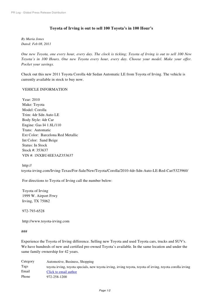 PR Log   Global Press Release Distribution Toyota Of Irving Is Out To Sell  ...
