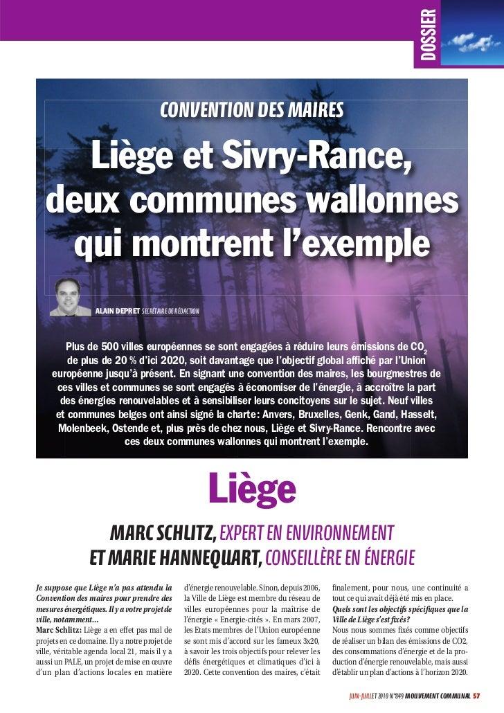 DOSSIER                                         CONVENTION DES MAIRES      Liège et Sivry-Rance,   deux communes wallonnes...