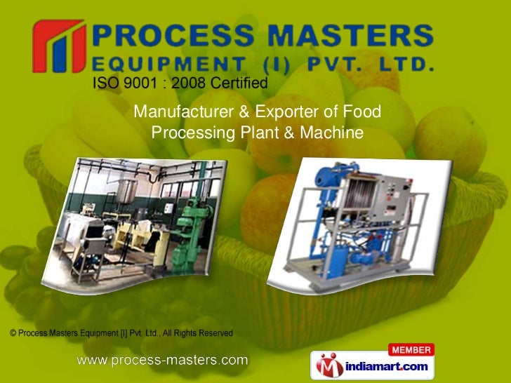 Manufacturer & Exporter of Food Processing Plant & Machine