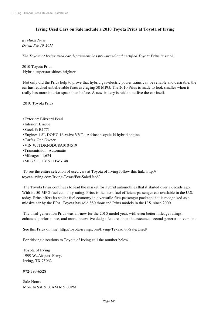 PR Log - Global Press Release Distribution                 Irving Used Cars on Sale include a 2010 Toyota Prius at Toyota ...