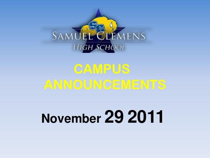 CAMPUSANNOUNCEMENTSNovember 29 2011
