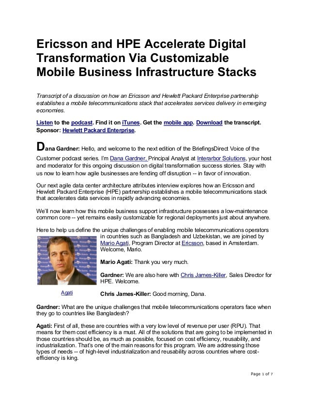 Page 1 of 7 Ericsson and HPE Accelerate Digital Transformation Via Customizable Mobile Business Infrastructure Stacks Tran...