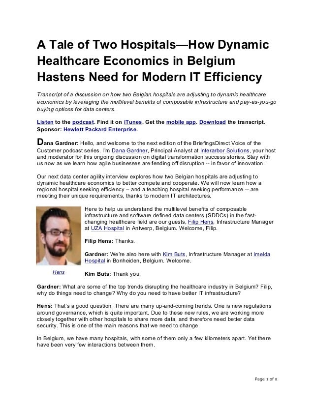 Page 1 of 8	 A Tale of Two Hospitals—How Dynamic Healthcare Economics in Belgium Hastens Need for Modern IT Efficiency Tra...