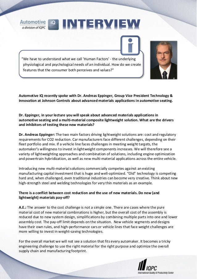 Automotive IQ recently spoke with Dr. Andreas Eppinger, Group Vice President Technology & Innovation at Johnson Controls a...