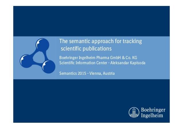 Boehringer Ingelheim Pharma GmbH & Co. KG Scientific Information Center - Aleksandar Kapisoda Semantics 2015 - Vienna, Aus...