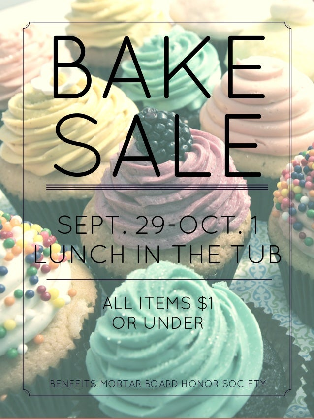 mortar board bake sale poster