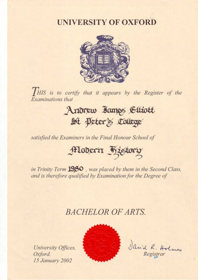 Oxford Degree Certificate