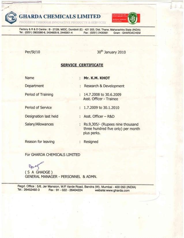 Gharda chemicals dombivli vacancy