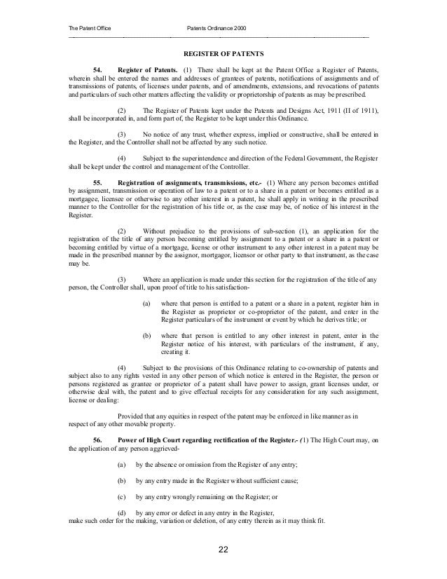 Patents Ordinance 2000 Pakistan – Patent Assignment Form