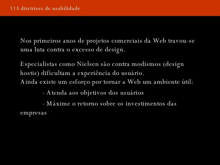Palestra - 113 Diretrizes de Nielsen para Homepages. Slide 3