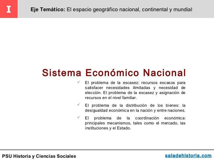 I          Eje Temático: El espacio geográfico nacional, continental y mundial                 Sistema Económico Nacional ...