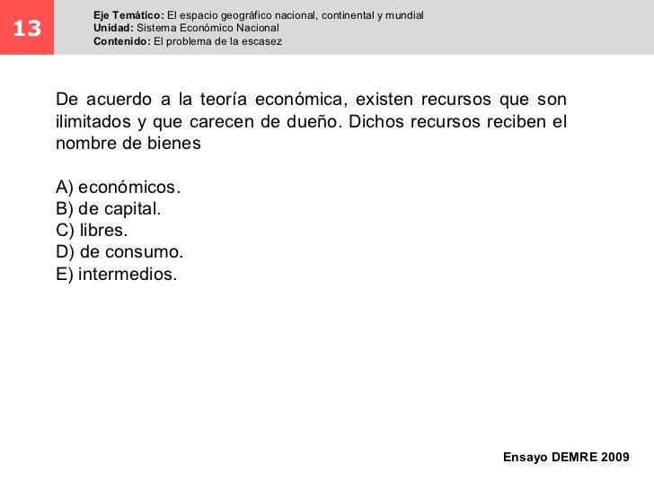 Eje Temático: El espacio geográfico nacional, continental y mundial13       Unidad: Sistema Económico Nacional         Con...