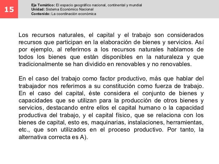 Eje Temático: El espacio geográfico nacional, continental y mundial15       Unidad: Sistema Económico Nacional         Con...
