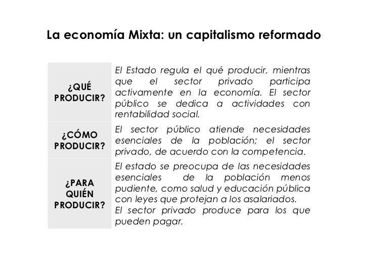 La economía Mixta: un capitalismo reformado             El Estado regula el qué producir, mientras             que     el ...