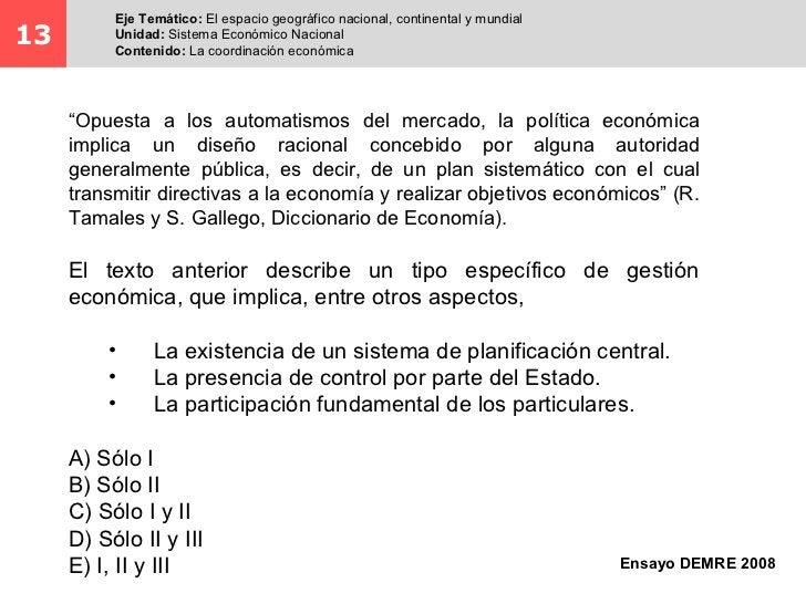 Eje Temático: El espacio geográfico nacional, continental y mundial13        Unidad: Sistema Económico Nacional          C...