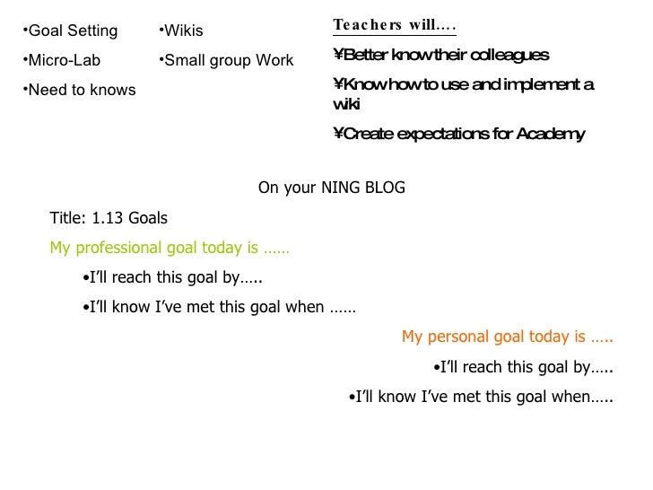 <ul><li>On your NING BLOG </li></ul><ul><li>Title: 1.13 Goals </li></ul><ul><li>My professional goal today is …… </li></ul...