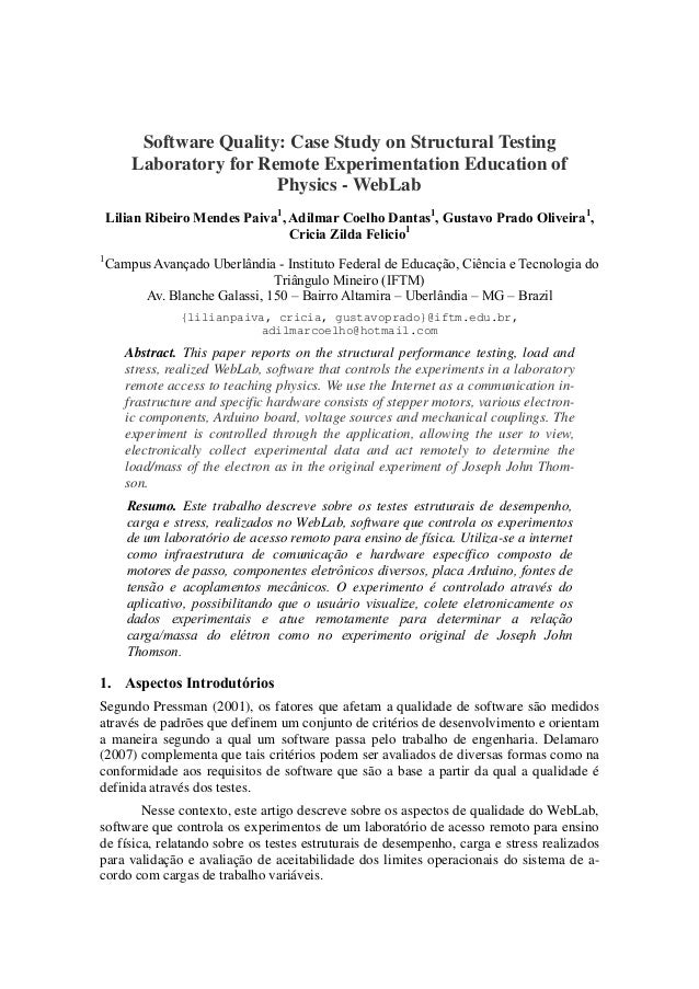 Software Quality: Case Study on Structural Testing        Laboratory for Remote Experimentation Education of              ...