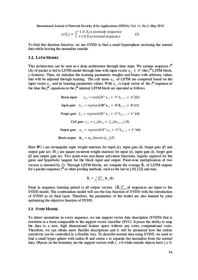 International Journal of Network Security & Its Applications (IJNSA) Vol. 11, No.3, May 2019 94 2(4 ) = 6 −1 if 4 is anoma...