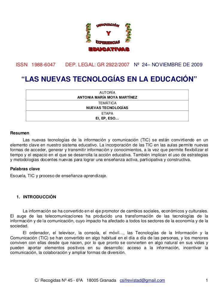 """ISSN 1988-6047             DEP. LEGAL: GR 2922/2007 Nº 24– NOVIEMBRE DE 2009     """"LAS NUEVAS TECNOLOGÍAS EN LA EDUCACIÓN"""" ..."""