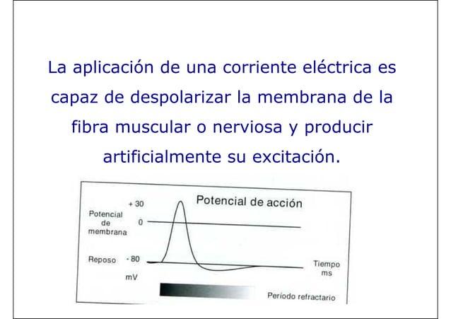 La aplicación de una corriente eléctrica es capaz de despolarizar la membrana de la fibra muscular o nerviosa y producir a...