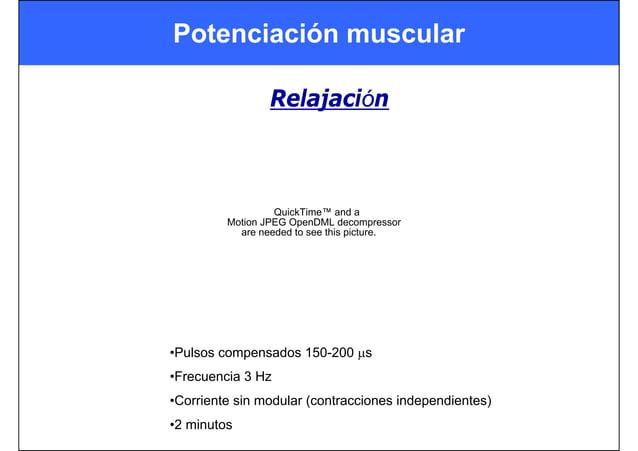 Potenciación muscular Relajación QuickTime™ and a Motion JPEG OpenDML decompressor are needed to see this picture. •Pulsos...