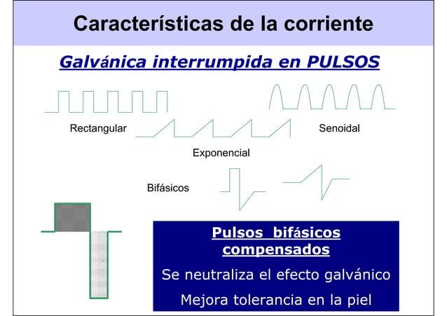 Características de la corriente Pulsos bifásicos compensados Se neutraliza el efecto galvánico Mejora tolerancia en la pie...