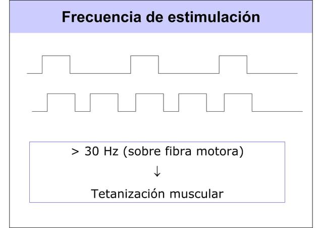 Frecuencia de estimulación > 30 Hz (sobre fibra motora) ↓ Tetanización muscular