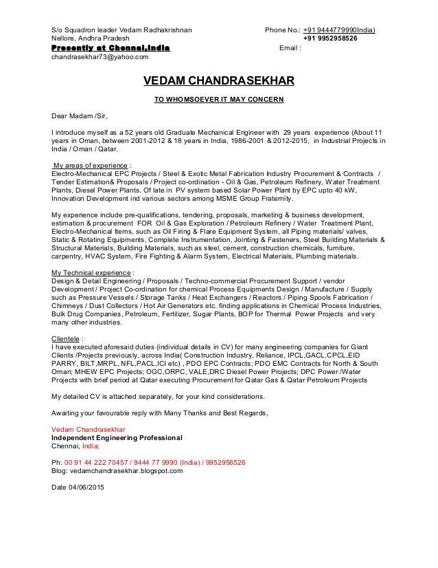 Cover Letter  Vedam Chandrasekhar. S/o Squadron Leader Vedam Radhakrishnan  Phone No.: +91 9444779990India) Nellore