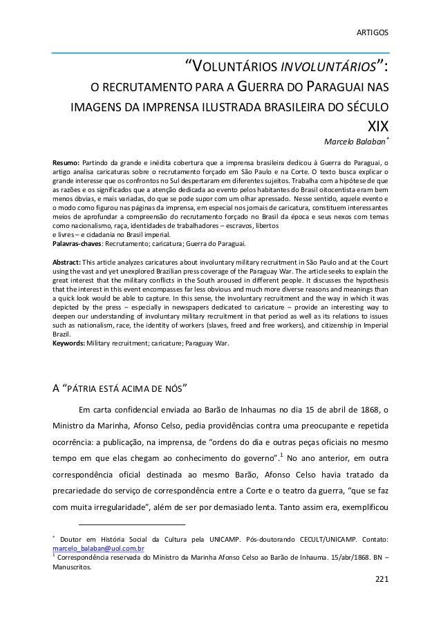 """ARTIGOS                                            """"VOLUNTÁRIOS INVOLUNTÁRIOS"""":            O RECRUTAMENTO PARA A GUERRA DO..."""