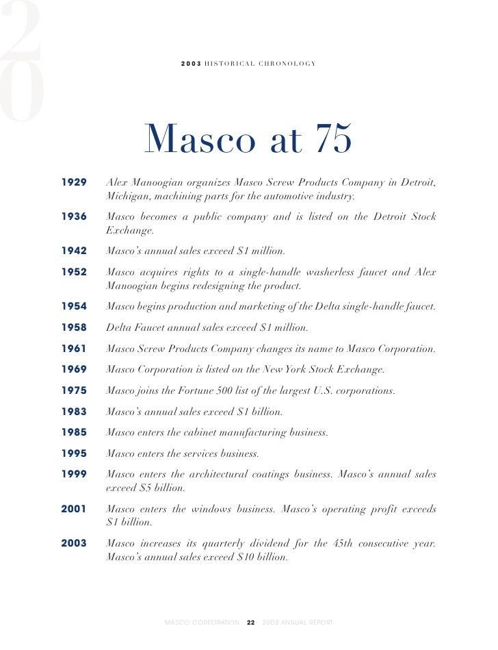 Masco Annual Report2003