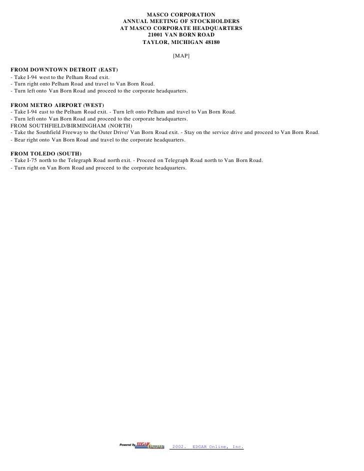 masco Proxy Statements 2002- - 웹