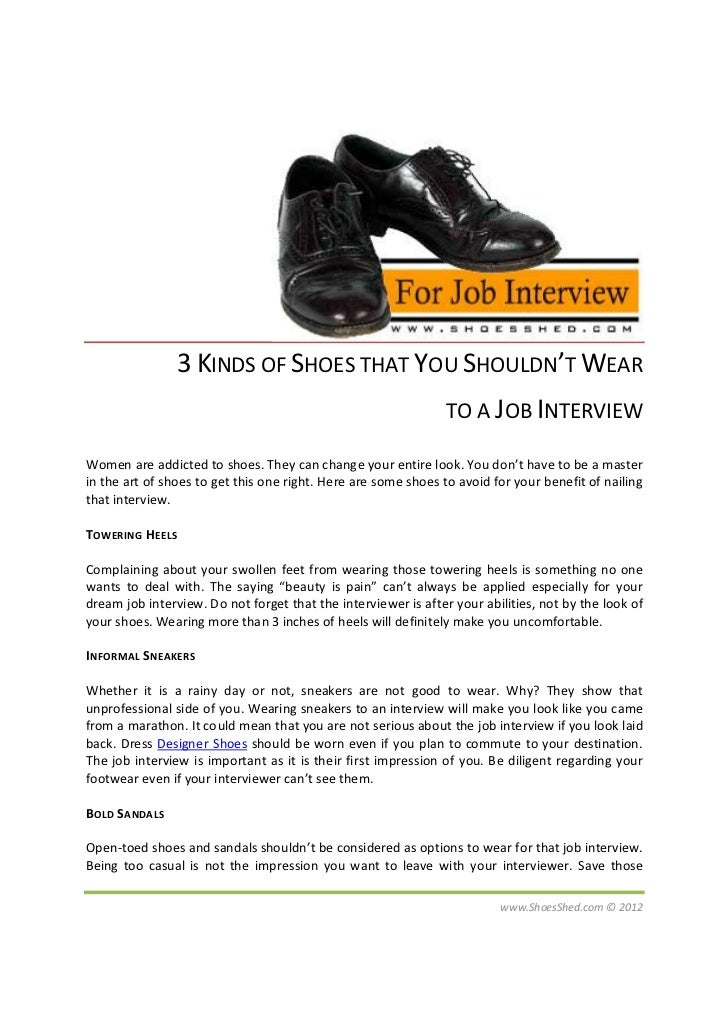 3 KINDS OF SHOES THAT YOU SHOULDN'T WEAR                                                                TO A JOB INTERVIEW...