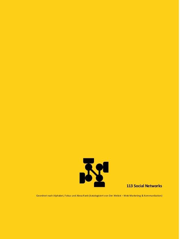 113 Social Networks Geordnet nach Alphabet, Fokus und Alexa Rank (katalogisiert von Der Webist – Web Marketing & Kommunika...