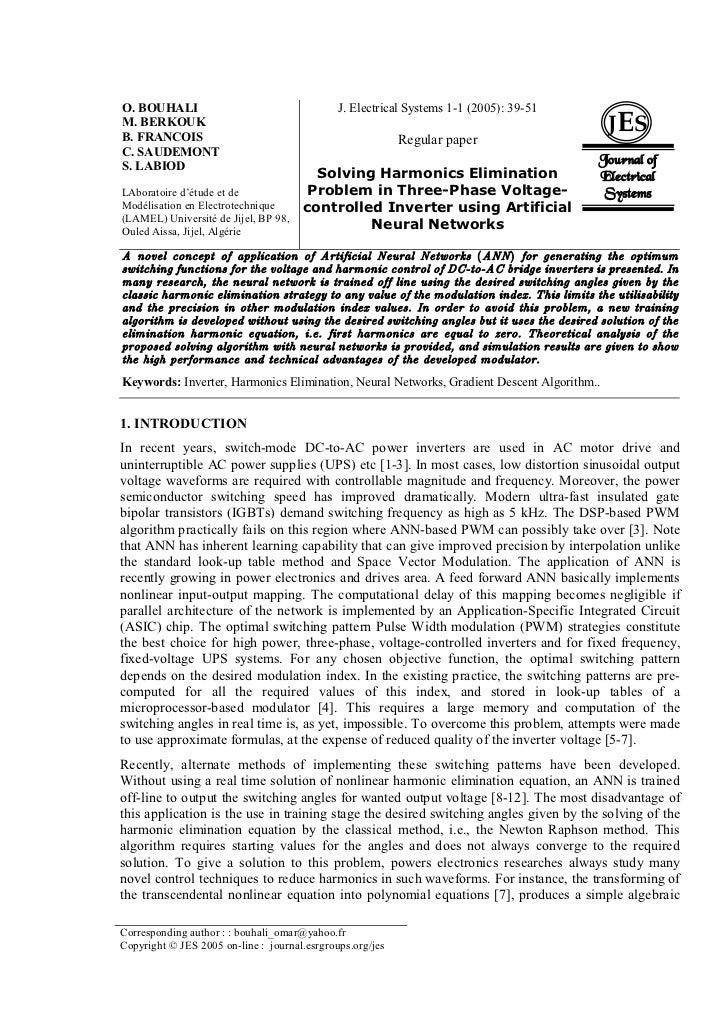 O. BOUHALI                                    J. Electrical Systems 1-1 (2005): 39-51M. BERKOUKB. FRANCOIS                ...